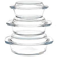 Набор кастрюль жаростойкое стекло 0.7л, 1л, 1.5л А+ 1092