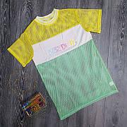 Яркая модная прикольная футболка в сеточку необычная Футболка сеточка Just do it жёлтая 2020
