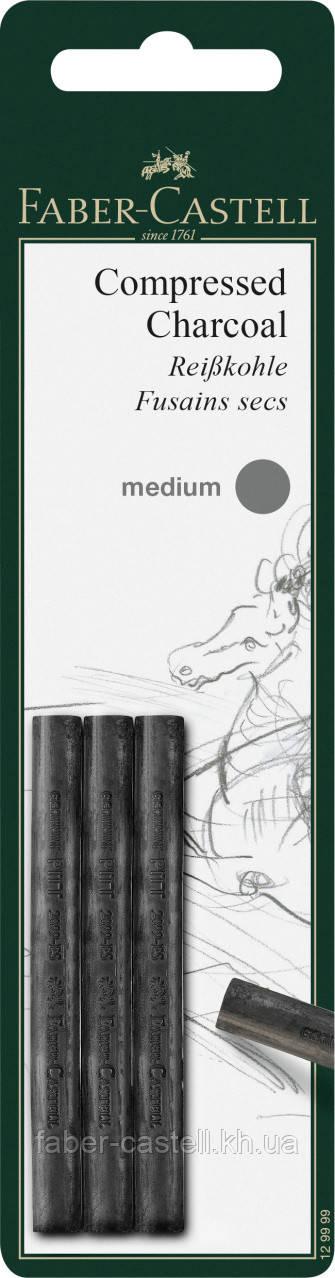 Набор прессованный уголь Faber-Castell Compressed Charcoal stick Medium 3 шт, средняя твердость, 129999