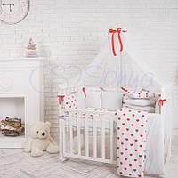 Комплект детского постельного белья  Бэби дизайн Сердца красные, фото 1