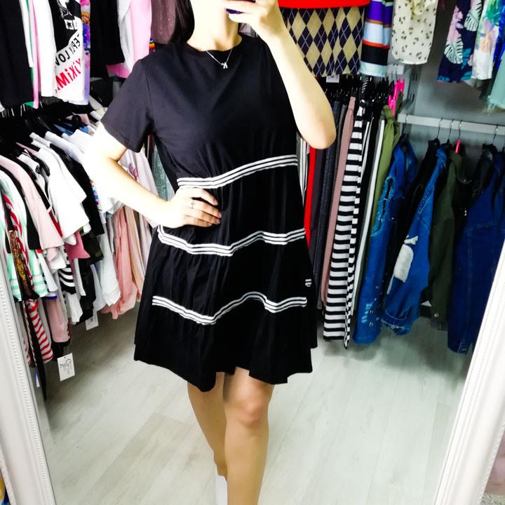 Платье чёрное с чёрно-белыми полосами- 510-118-1