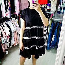 Платье чёрное с чёрно-белыми полосами- 510-118-1, фото 2