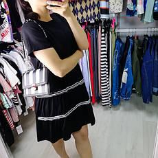 Платье чёрное с чёрно-белыми полосами- 510-118-1, фото 3