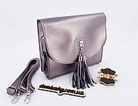 "Женская кожаная сумка ""Galanty"" silver 23*22*9 см (натуральная кожа)"