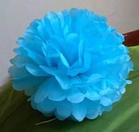 Помпон для святкового декору із паперу тішью, діаметр 30 см. Блакитний насичений