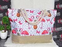 Пляжная женская сумка Вечеринка фламинго, фото 1