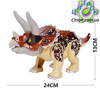 Динозавр Трицератопс большой аналог Лего  Длина 24 см. Конструктор динозавр, фото 1