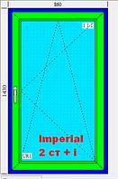 Окно 860х1430 3-х камерный профиль Imperial 2 стекла белое