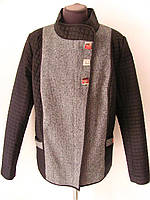 Комбинированная женская стеганая демисезонная куртка с твидом, на тонком утеплителе, р.58 код 1668М