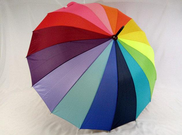 Женский яркий зонт трость разноцветная  радуга на 16 спиц