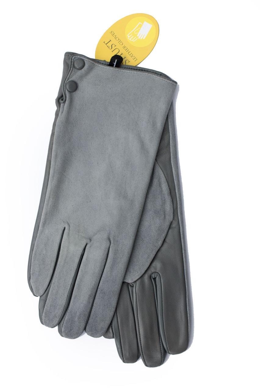 Женские комбинированные перчатки кожа+замша 11-759
