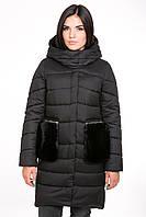 Куртка женская Kattaleya с меховыми карманами KTL-112 цвета черный cotton