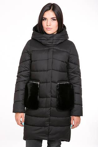 Куртка женская Kattaleya с меховыми карманами KTL-112 цвета черный cotton (#52), фото 2