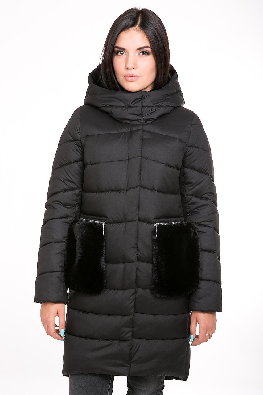 0b38773c1c8 Куртка женская Kattaleya с меховыми карманами KTL-112 цвета черный cotton  ( 52)