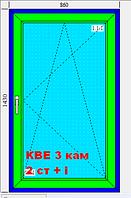 Окно 860х1430 3-х камерный профиль KBE 2 стекла белое