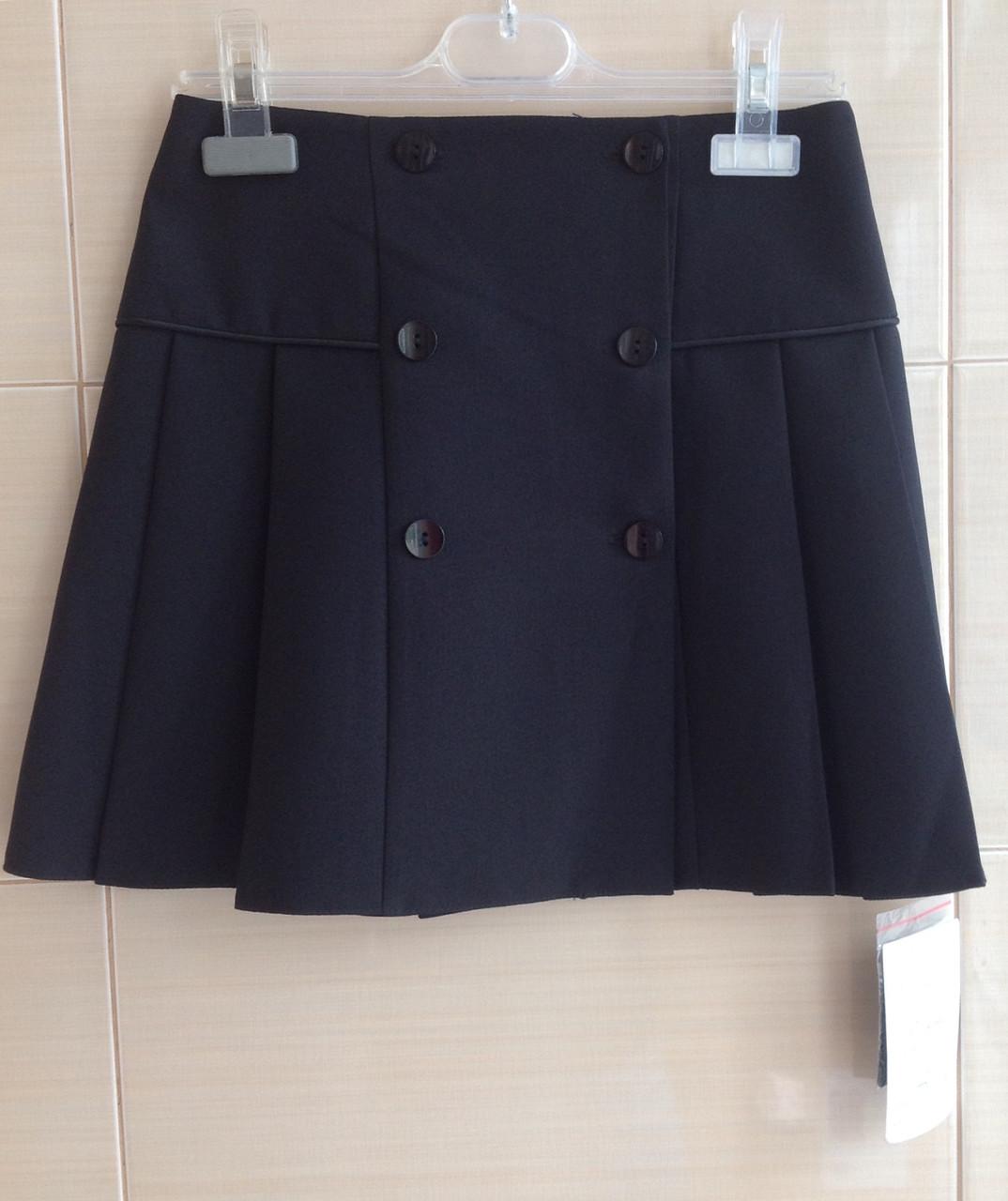 Юбка школьная черная со складками и двубортной застежкой р.134