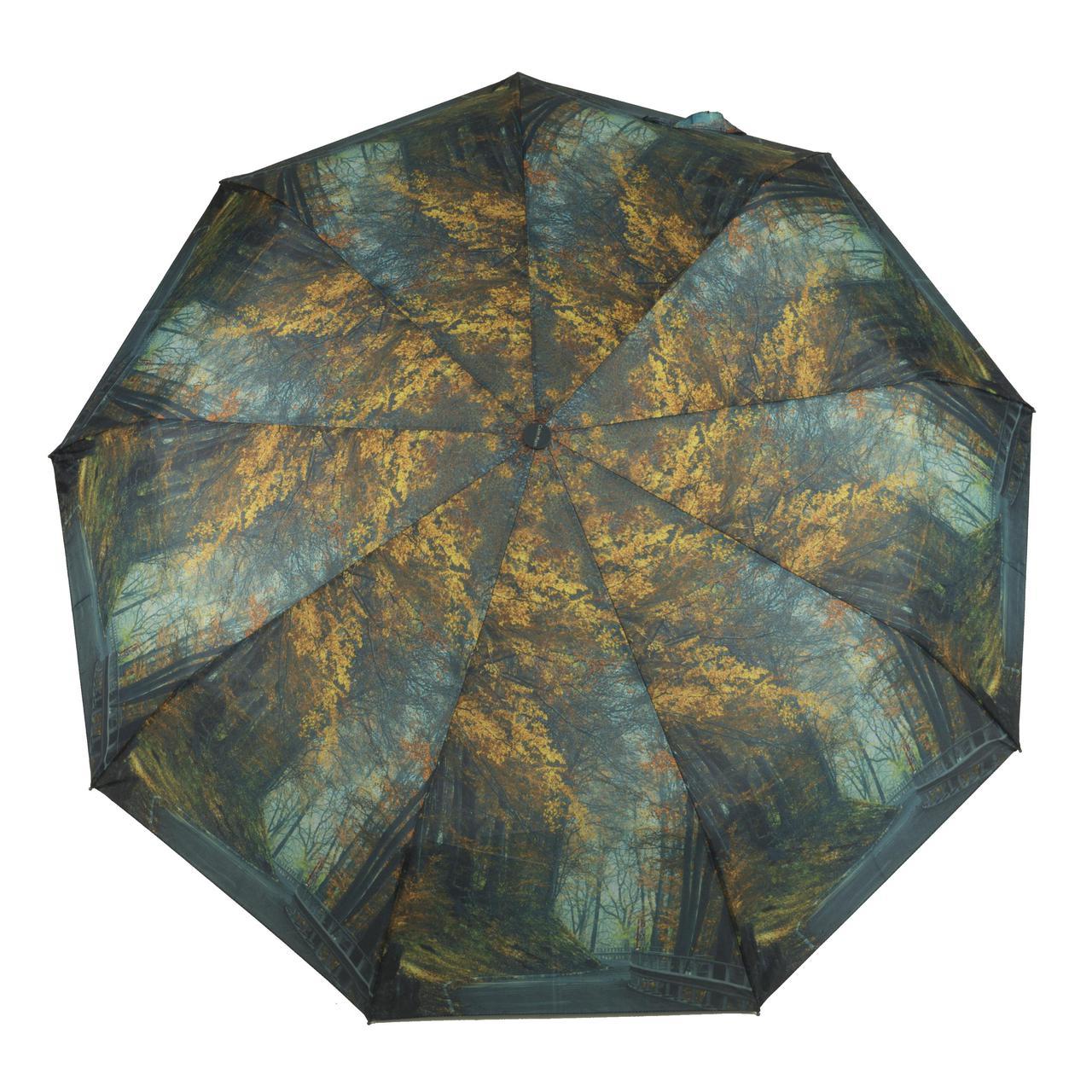 Женский симпатичный прочный зонтик автомат с ярким принтом CALM RAIN  art. 490 природа (102930)
