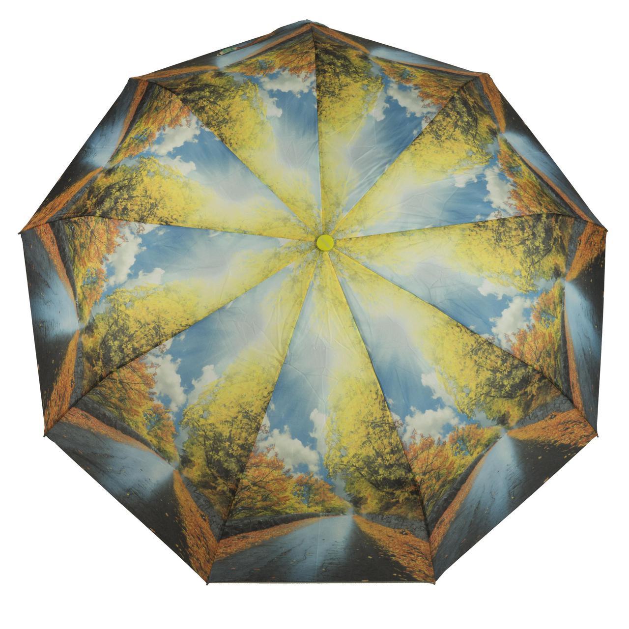 Женский симпатичный прочный зонтик автомат с ярким принтом CALM RAIN  art. 490 природа (102932)