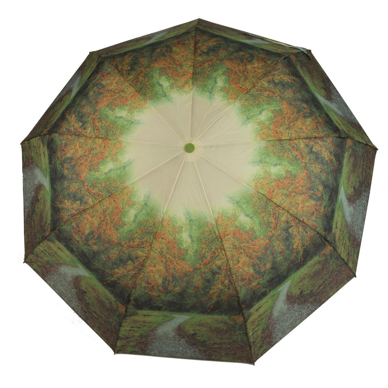 Женский симпатичный прочный зонтик автомат с ярким принтом CALM RAIN  art. 490 природа (102934)