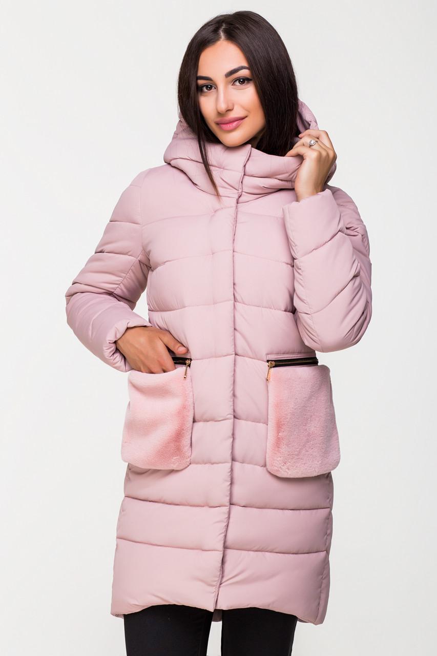Куртка женская Kattaleya со съемными меховыми карманами KTL-112 розовая (#721) 48 размер
