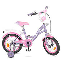 """Двухколесный велосипед Profi Butterfly 14"""" Фиолетовый (Y1422)"""