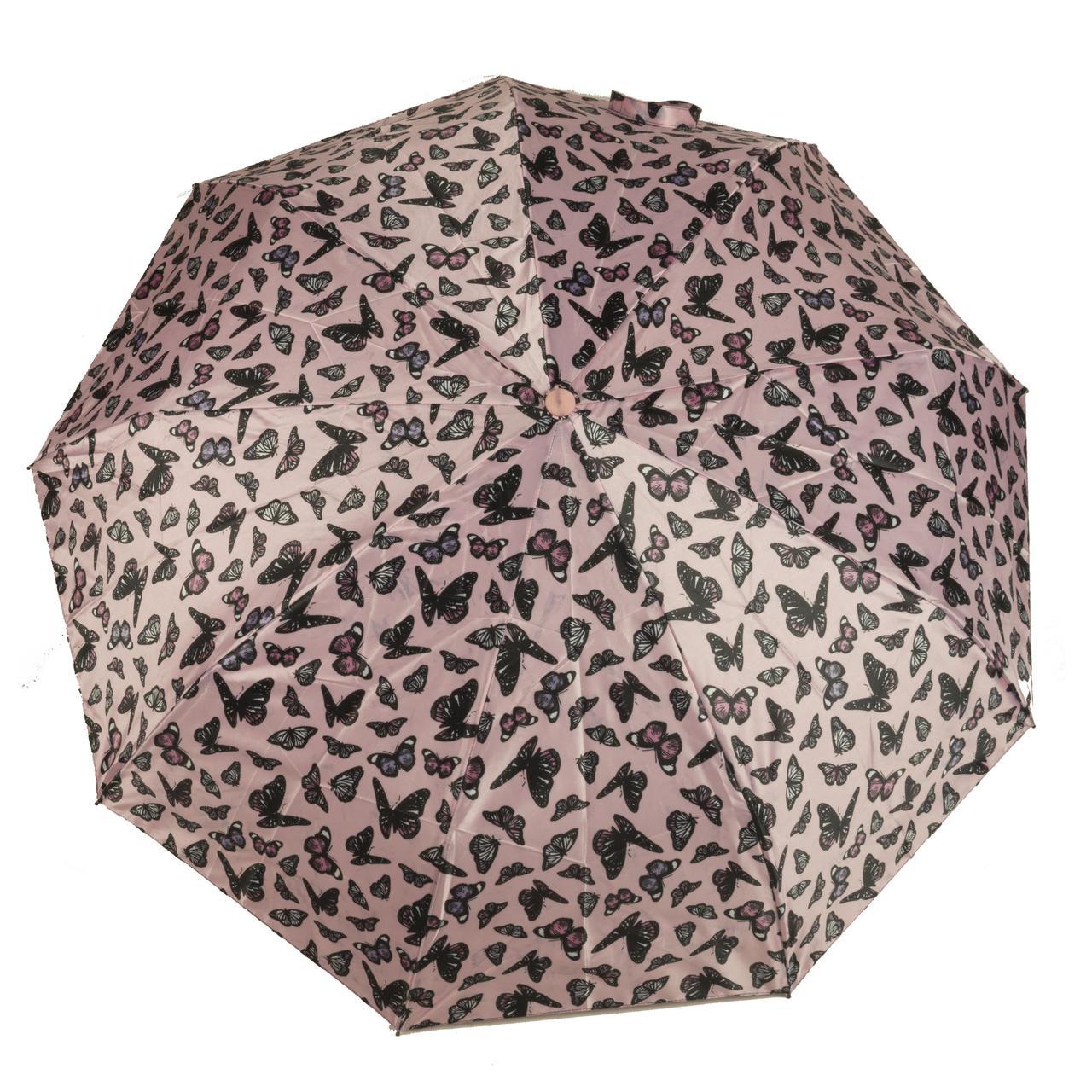 Женский симпатичный прочный зонтик автомат Frai REGEN  art. 565 розовый/черный (102936)
