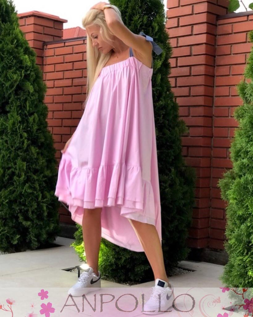 Платье сарафан летнее разлетайка с воланом на бретелях