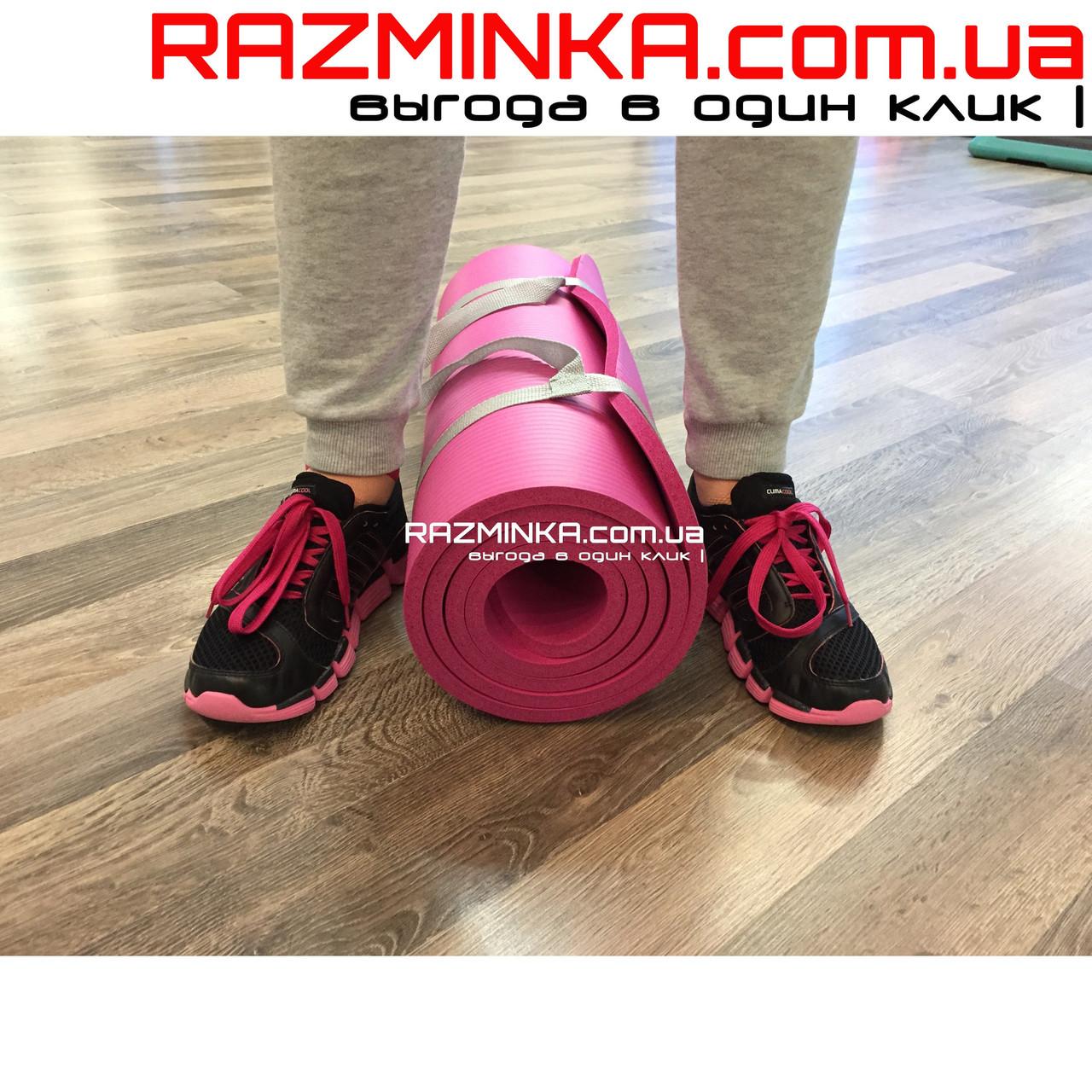 Каучуковый коврик для фитнеса NBR 180х60см, толщина 12мм, розовый
