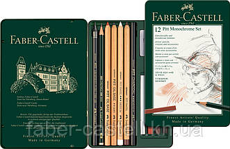 Специальный художественный набор Faber-Castell PITT MONOCHROME из 12 предметов в мет. коробке, 112975