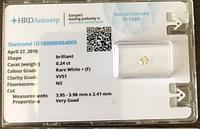 Бриллиант натуральный природный 3,95 мм 0,24 Кт сертификат HRD 530$