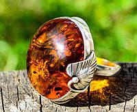 Шикарное кольцо! Янтарь! Серебро,925 проба.