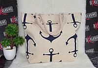 Женская тканевая пляжная сумка Якоря, фото 1