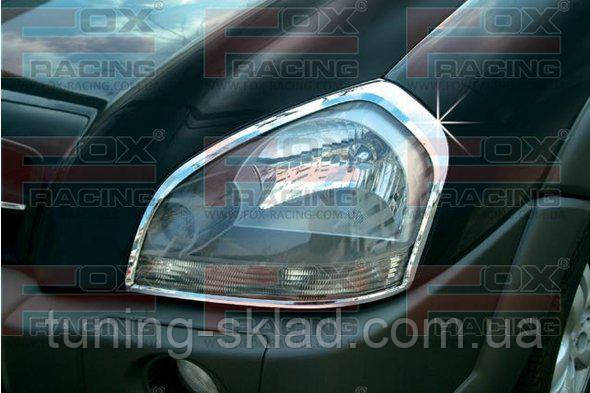 Хром накладки на фары (2 шт, пласт)  Hyundai Tucson JM 2004+    (Хюндай Тюксон)