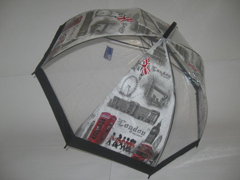 Молодежный прозрачный зонт - трость города на 8 спиц