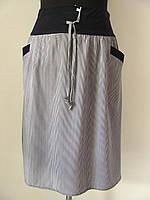 Юбка до колена софт, с карманами, полоска, завязки. Размеры 52 код 2239М