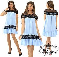 Женское летнее платье +сетка+кружево р.42,44,46. (4расцв.), фото 1