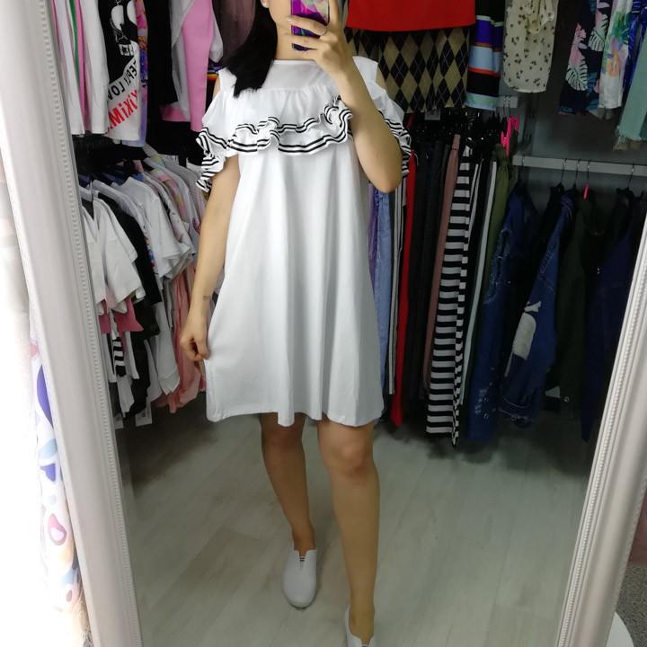 Платье белое рукав волан 510-119-2