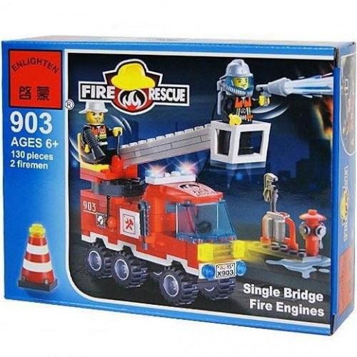 Конструктор BRICK 903 Пожежна тривога Машина, 130 елементів, в коробці,18-14-4,5 см
