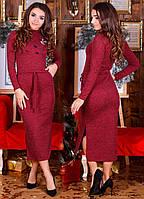 Женское платье длинное с вышивкой бордового цвета  от YuLiYa Chumachenko
