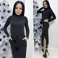 Женское платье длинное с меховыми бубонами черного цвета  от YuLiYa Chumachenko, фото 1