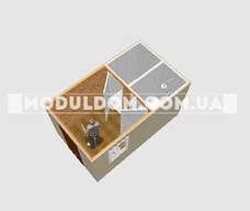 Вагончик санитарный, мобильный (4 х 2.4 м.) с отдельной душкабиной и санузлом, на металлокаркаса., фото 3