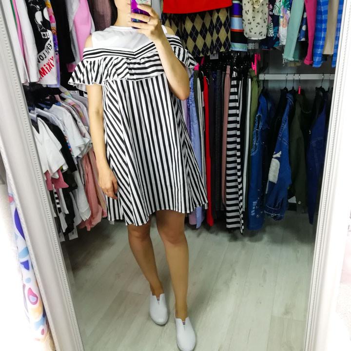 Платье полосатое белый верх 510-140-2