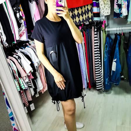 Чёрное платье oversize трикотажный верх 510-612, фото 2