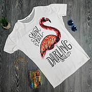 Футболка с пайетками Фламинго белая Яркая 2020 Прикольная модная футболка молодёжная