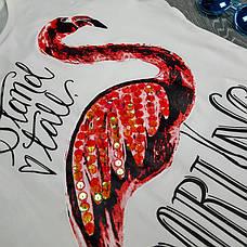 """Футболка """"Фламинго"""" белая 510-9002-2, фото 3"""