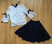Школьная юбка для девочки с фатином синего цвета, фото 1