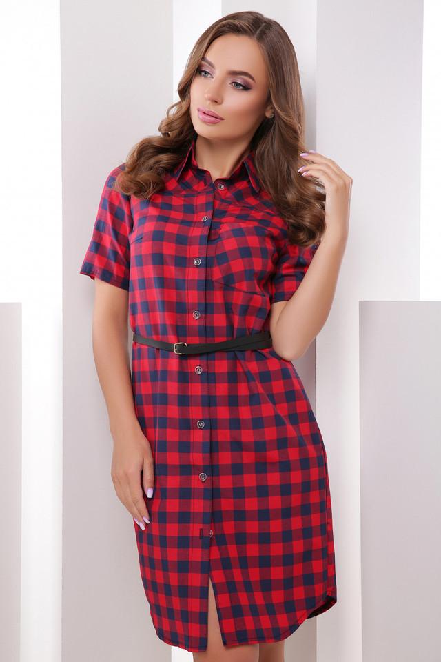 Модное платье на лето миди прямого кроя короткий рукав клетка красное с синим
