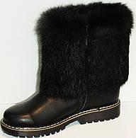 Сапоги зимние кожаные черные для девочки на термополиэстеровой подошве с подкладкой из шерсти