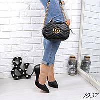 Женская сумка бананка Gu черная 1037, сумка через плечо, фото 1