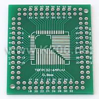 AP-Q08-3264-05-32100 Плата-переходник для корпусов QFN / TQFP, 32-100 выводов, шаг 0.5 / 0.8 мм; размер 38x46м